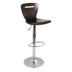 """LumiSource - H2 Barstool - The H2 barstool will add a punch of color to any room. The stool is made out of painted bent wood and has a slot design through the backrest adding artistic detail. Features: -Barstool. -Chrome base. -Bent wood design. -Footrest and adjustable hydraulics. -Slot design through the backrest adding artistic detail. -High back for added support. Dimensions: -Adjustable seat height: 23"""" to 33"""". -41"""" H x 16"""" W x 17"""" D, 14 lbs."""