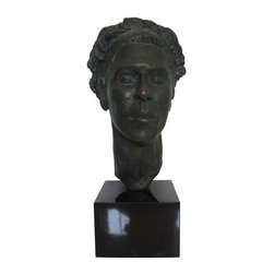 Pre-owned Nicholas Pingitore Bronze Finish Bust - A lovely and substantial bronze bust with a mid-century vibe. We attribute this piece to Nicholas Pingitore as it was purchased in a group of five similar pieces, only one of which was signed. A truly classic and artfully executed piece, perfectly mounted on a sleek black base.