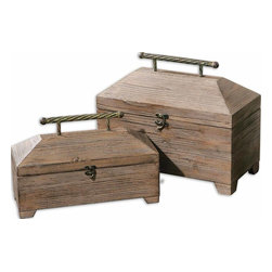 Uttermost - Tadao Natural Wood Boxes, Set of 2 - Lightly antiqued, natural wood with metal accents on the hinged lids. Sizes: sm-14x9x6, lg-16x13x8