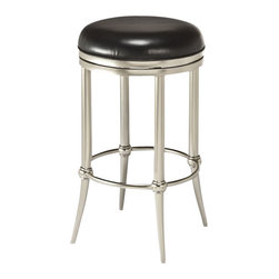 """Hillsdale - Hillsdale Cadman Backless 26"""" or 30"""" Bar Stool Nickel Finish-Counter Height - Hillsdale - Bar Stools - 5173827 - Sleek and sophisticated the Cadman Stool packs a lot of style punch into a backless design. Featuring a dull nickel base and a 360 degree swivel stool offset in chic black vinyl the Cadman is a contemporary creation without being over the top. The Cadman is available in bar and counter heights. Some assembly required."""