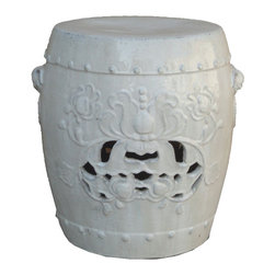 Golden Lotus - Chinese Clay White Foo Dog Head Lotus Carving Garden Stool Stand - This is an unusual garden stand which is made of clay.  Especially, this stool has lotus carving front and back, has two foo dog head handles at both sides.  Besides being a garden stand, this kind of stool is getting popular for decorating indoor home. It is mostly use as a table base or flower plant stand.