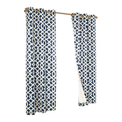 "Commonwealth Home Fashions - Trellis Thermalogic Navy 80"" X 63"" Grommet Top Curtain Pair - Trellis Thermalogic Navy 80"" X 63"" Grommet Top Curtain Pair.  Each package comes with two grommet top room darkening panels measuring 40"" Wide each. These curtains are thermal insulated, room darkening and are energy efficient.  The curtains insulating qualities keep your house warm in the winter and cool in the summer and can save on energy costs. These curtains block out a majority of the light but are not considered blackout curtains.  They feature a modern stylish geometric trellis pattern that is the perfect touch for that retro modern look. Made in China."