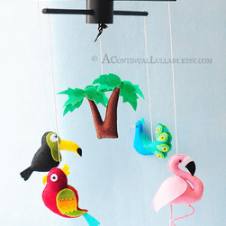 Jungle Birds Mobile No. 1 by A Continual Lullaby - A flamingo makes the cut in this darling Jungle Birds Mobile for a baby's nursery.