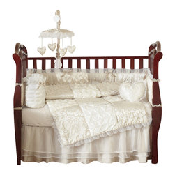 Sweet Jojo Designs - Champagne and Ivory Victoria 9-Piece Baby Crib Bedding Set by Sweet Jojo Designs - The baby bedding by Sweet Jojo Designs includes: comforter, bumper, dust ruffle, fitted sheet, toy bag, pillow, diaper stacker and 2 window valances.