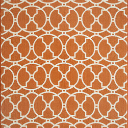 """Baja BAJ-11 Orange Rug - 7'10""""x10'10"""" - Bold and exciting colors patterns allow trend-conscious customers to create their ultimate indoor/outdoor oasis. Baja thrives on simple graphic patterns with a refreshing twist of runway fashion and lively color palettes. Machine-made in Egypt of 100% polypropylene and approved for use outdoors."""
