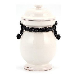 Artistica - Hand Made in Italy - SCAVO CORDA: Canister Small BLACK/WHITE - SCAVO CORDA: With our new Scavo Corda Collection, once again we are combining simplicity and elegance for your home and Garden.