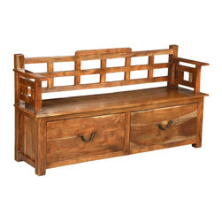 Sierra Living Concepts - Solid Wood Storage Sofa Bench with Drawers - Handmade Hardwood Storage Bench, strong and sturdy Rustic style with two large storage drawers and a spacious bench style top with side arm rests and backrest.