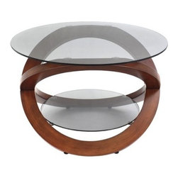 Modern Oval Glass Coffee Table with Walnut Base Universe - Features: Tempered smoked oval glass coffee table top. One-of-a-kind designed bent wood base. Extra shelving space manufactured of the same quality as the table top glass. Sturdy and remarkable design.