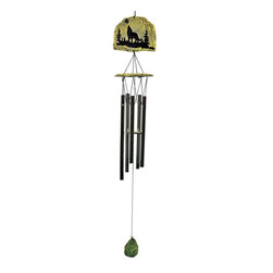 Great World - 32 Inch Coyote Silhouette Etched Stone Poly Resin Wind Chime - This gorgeous 32 Inch Coyote Silhouette Etched Stone Poly Resin Wind Chime has the finest details and highest quality you will find anywhere! 32 Inch Coyote Silhouette Etched Stone Poly Resin Wind Chime is truly remarkable.