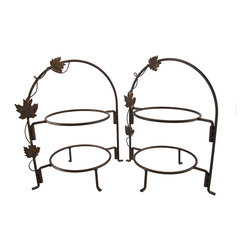 The Winery Pair of Bronze 2 Tier 8 in. Plate Racks - This pair of plate racks adds a beautiful accent to tables for any occasion. Made of metal, each measures 13 inches tall, 11 1/2 inches long, 8 1/2 inches wide, and tiers accommodate 8 inch plates. Each stand features a decorative grapevine with leaves twisting up one side and has a bronzed finish. Assembly takes only moments, and screws are included to attach the bottom tier to the frame for extra stability.