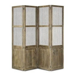 "Currey and Company - Cranbourne Folding Screen - Used as a room divider or an interesting piece in any corner, the folding screen is made of mango wood and wire mesh. The ""living"" mango wood takes on natural characteristics as it ages. 87"" wide x 1"" deep x 80"" high (CR)"