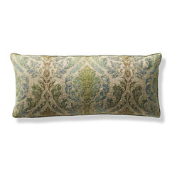 Beaded White Green Outdoor Outdoor Lumbar Pillow
