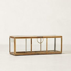 "Anthropologie - Gilded Borders Jewelry Box - Brass, glass5.5"" - 9""H, 3.25"" - 6.5""WImported"