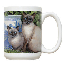 155-China Blue Mug - 15 oz. Ceramic Mug. Dishwasher and microwave safe It has a large handle that's easy to hold.  Makes a great gift!