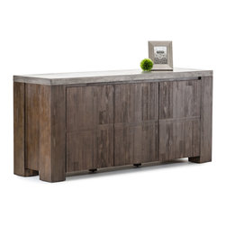 None - Modrest Faux Concrete Urban Buffet - Enhance the look of your home or office decor with this faux concrete urban buffet. Made of quality materials,this furniture is both durable and stylish.
