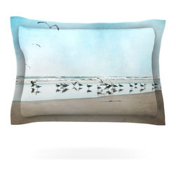 "Kess InHouse - Sylvia Cook ""Sea Blue"" Coastal Pillow Sham (Cotton, 30"" x 20"") - Pairing your already chic duvet cover with playful pillow shams is the perfect way to tie your bedroom together. There are endless possibilities to feed your artistic palette with these imaginative pillow shams. It will looks so elegant you won't want ruin the masterpiece you have created when you go to bed. Not only are these pillow shams nice to look at they are also made from a high quality cotton blend. They are so soft that they will elevate your sleep up to level that is beyond Cloud 9. We always print our goods with the highest quality printing process in order to maintain the integrity of the art that you are adeptly displaying. This means that you won't have to worry about your art fading or your sham loosing it's freshness."