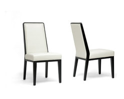 Wholesale Interiors - Theia Black Wood and Cream Leather Modern Din - Set of 2. Contemporary dining chair . Black wood frame . Cream bonded leather . Non-marking feet . Made in China . Fully assembled. 19 in. L x 25 in. W x 38.5 in. H (15.9 lbs)