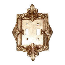 Hickory Manor House - Fleur-de-Lis Double Switch Plate in Antique G - Vintage original. Custom made by artisans unfortunately no returns allowed. Enhance your decor with this graceful switch plate. Made in the USA. Made of pecan shell resin. Weight: 1 lb.