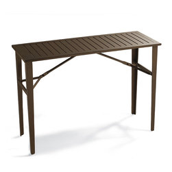 """Frontgate - Folding Counter-height Table, Patio Furniture - Airplane-grade aluminum table supports up to 250 lbs.. Slatted tabletop lets rainwater easily drain through. Rustproof stainless steel fittings. Folds to a slender 2-3/4"""" depth. Can also be used indoors. Caterer-quality Outdoor Folding Table is extra sturdy and al fresco ready. Built from durable, powdercoated aluminum, the high-design table unfolds at a moment's notice. No tablecloth is needed as the rock-hard bronze finish won't rust or stain. . . . Folds to a slender 2-3/4"""" depth. . Distinctive bronze finish does not require a tablecloth."""