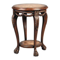 Ambella Home - Leather & Swag Accent Table - Your discerning eye led you directly to this special piece. Paw foot and acanthus leaf carvings, a rich mahogany finish and luxurious leather work in concert, adding the perfect grace note to your traditional decor.