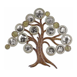 """Uttermost - Uttermost Maple Tree Hanging Photo Collage 13725 - Made of hand forged metal, this collage provides numerous openings to display your favorite photos. Finish consists of aged chestnut with antiqued verdigris details and burnished edges. Include of 10 frames size 4"""" W x 4"""" H and 3 frames size 5"""" W x 5"""" H."""