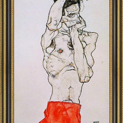 """Art MegaMart - Egon Schiele Standing Male Nude Red Loincloth - 16"""" x 24"""" Egon Schiele Standing Male Nude with a Red Loincloth framed premium canvas print reproduced to meet museum quality standards. Our Museum quality canvas prints are produced using high-precision print technology for a more accurate reproduction printed on high quality canvas with fade-resistant, archival inks. Our progressive business model allows us to offer works of art to you at the best wholesale pricing, significantly less than art gallery prices, affordable to all. This artwork is hand stretched onto wooden stretcher bars, then mounted into our 3 3/4"""" wide gold finish frame with black panel by one of our expert framers. Our framed canvas print comes with hardware, ready to hang on your wall.  We present a comprehensive collection of exceptional canvas art reproductions by Egon Schiele."""