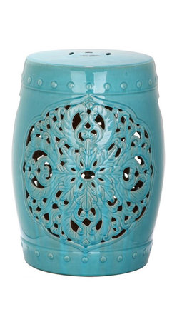 Safavieh - Valencia Garden Stool - Exquisitely crafted, the Valencia  blue ceramic garden stool features a pierced leaf medallion motif of Asian inspiration. Replete with lucky coin top detail and ceramic nailheads, Valencia is a timeless beauty.