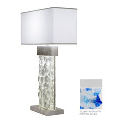 Fine Art Lamps - Crystal Bakehouse Cobalt & Aqua Crystal Table Lamp, 824610-22ST - Both bold and blissful, this remarkable table lamp has a base of cobalt and aqua crystal shards, hand-crafted and polished into a solid block. With a simple shade as perfect complement, it makes an exciting addition to your contemporary home.