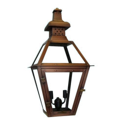 """Primo Lanterns - Primo Lanterns PL-20E St. Charles 23"""" Outdoor Wall-Mounted Lantern in Electric C - Primo Lanterns PL-20E St. Charles 23"""" Outdoor Wall-Mounted Lantern in Electric Configuration, with Two-Light ClusterAdd Southern Charm and character to any outdoor area with an electric wall lantern from Primo Lanterns. Hand made from pure copper, these lanterns are antique-finished and clear-coated for a breathtaking appearance. The candelabra bulb cluster will illuminate any area with a relaxing warm glow, while allowing for an easier installation than Primo Lanterns gas burning models.Primo Lanterns PL-20E Features:"""