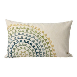 """Ombre Treads Cool Print 12"""" X 20"""" Throw Pillow - This wonderful indoor / outdoor decorative throw pillow looks great in living rooms or patios or wherever you want a dash of color. Made of 100% polyester microfiber. The cover has a zipper closure so you can take out the fiberfill inner pillow for hand-washing if you need to. The pillow measures 12 inches by 20 inches."""