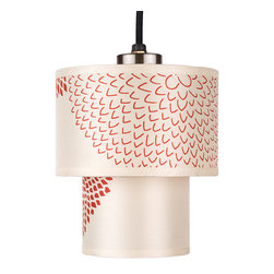 Lights Up! - Deco Mini Pendant Lamp - Perfect for lighting up a small nook or corner, a double drum pendant light is always a chic choice. Go for a pop of sophisticated red and orange pattern on silk shades to light up a favorite space in your home. Just one 40-watt bulb will create a warm and flattering glow of light.