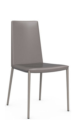 Calligaris - Boheme Leather Chair, Taupe, Set of 2 - Your modern office or dining room is not complete without a set of sophisticated chairs. Choose from four modern colors for the leather upholstery and sleek steel legs. It's the ultimate in minimalist seating.