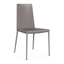 Calligaris - Boheme Leather Chair, Taupe - Your modern office or dining room is not complete without a set of sophisticated chairs. Choose from four modern colors for the leather upholstery and sleek steel legs. It's the ultimate in minimalist seating.