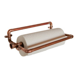 Nine & Twenty - Industrial Copper Paper Towel Holder - Holds one standard roll of paper towels, and does it in style. Two un-soldered joints allow the center bar to pivot up for roll replacement.