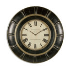 Grace Feyock - Grace Feyock Rudy Traditional Clock X-90760 - This clock features lightly distressed, rustic black with a gray glaze and antique gold accents. Quart movement.