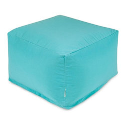 Majestic Home Goods - Teal Large Ottoman - Add a little character to your living room or patio with the Majestic Home Goods Teal Large Ottoman. This Ottoman is the perfect accessory to add comfort and style to any room while functioning as a decorative foot stool, pouf, or coffee table. Woven from outdoor treated polyester, these ottomans have up to 1000 hours of U.V. protection and are able to withstand all of nature��_s elements. The beanbags are eco-friendly and feature a zippered slipcover. Spot clean slipcover with mild detergent and hang dry. Do not wash insert.