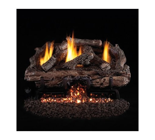 Real Fyre Charred Aged Split Vent Free Gas Log Set - Get the look of a crackling fire made of aged split logs without the hassle by using this Real Fyre Charred Aged Split Vent Free Gas Log Set. A breeze to use this premium gas log set has a variable remote control that lets you turn it off and on and also adjust the BTU output. All from the comfort of your couch. The logs are molded from ceramic and painted to organic perfection. This gas log set is conveniently vent-free uses either natural gas or propane and provides a variety of BTUs for maximum warmth. It comes in your choice of size. Have a professional installer put in the exhaust system to ensure safety and makes things easy. Note: Vent-free products are not approved for use in Canada and some states. Please check your local codes regarding vent-free products. A licensed contractor should be contacted for installation of all products involving gas lines. About Real FyreReal Fyre understands more about the amazing things that happen when flame and good food meet. For the last 70 years they've set out to create the singularly best way to cook food outdoors using the highest-quality materials innovative design and an absolutely relentless pursuit of perfection. With a complete line of luxury-grade grills burners accessories and built-in grill island components Real Fyre is ready to turn your home into the world's best outdoor kitchen.