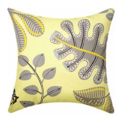 Land of Pillows - Waverly A New Leaf Throw Pillow, Lemon - Fabric Designer - Waverly