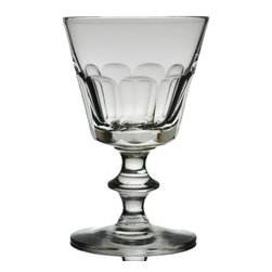 None visible - Consigned Port or Sherry Wine Small Glass - Single antique hand blown and faceted small wine glass, traditionally used for port, sherry or an aperitif.