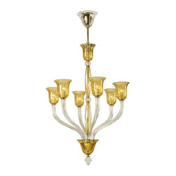 Kathy Kuo Home - Vetrai Amber and Clear 6 Light Murano Glass Style Chandelier - Golden rays of light shower down on any room when this beautiful chandelier is turned on.  Clear and amber glass are combined to create a warm aura. While undeniably traditional, this piece has a modern aspect which would work beautifully in a Hollywood Regency dining room.