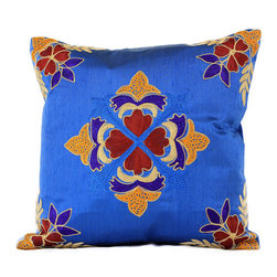Banarsi Designs - Floral Embroidered Pillow Cover, Set of 2 (King Blue) - The Floral Embroidered Pillow Cover Set of 2 from Banarsi Designs is available in beautiful and vivid colors. Crafted in India, our accent pillow covers incorporate a unique embroidered floral pattern using a combination of color tones. Zippers allow for easy removal and the 16 X 16 size fits most throw pillows in your home.   Perfect for decorating your living room, guest rooms and bedrooms.
