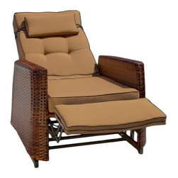 Outdoor Wicker Neutral Brown Recling Lounge Chair - Set of 2 - The Wicker Neutral Brown Outdoor Recliner - Set of 2 are ideal for relaxing in your backyard, on your patio or deck. Their adjustable and rocking motion mechanisms allow you to rock in upright as well as reclined positions. Made for outdoor use, these recliners feature a high quality, UV-protected PE wicker construction. Additionally, they have weather-resistant foam cushions that keep the recliners safe come rain or snow. Strong aluminum frames add to the durability of these recliners.About Best Selling Home Decor Furniture LLC Best Selling Home Decor Furniture LLC is a US-based company dedicated to providing you with a wide variety of fine furniture. With sales and manufacturing offices in Europe and China, as well as the ability to ship to anywhere in the world, no one is excluded from bringing these lovely pieces home. From outdoor to indoor furniture, children's furniture to ottomans and home accessories, all your needs will be met with attractive, high quality products that will last.