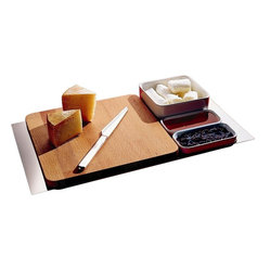 "Alessi - Alessi ""Programma 8"" Cheese Set - This accommodating cheese-course serving set allows you and your guests to never want for anything. It features a board, knife and three small dishes for extra sides, all resting on an intuitive carrying tray (that part's for you)."