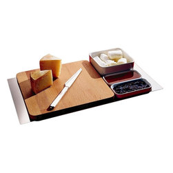 """Alessi - Alessi """"Programma 8"""" Cheese Set - This accommodating cheese-course serving set allows you and your guests to never want for anything. It features a board, knife and three small dishes for extra sides, all resting on an intuitive carrying tray (that part's for you)."""