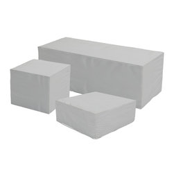 Harmonia Living - 3 Piece Urbana Outdoor Sofa Patio Cover Set - The 3 Piece Urbana Sofa Patio Cover Set (SKU HL-CVR-URBN-3SS) is perfect for keeping your coffee table looking its best throughout the year. Constructed from weatherproof vinyl, this cover is designed to keep sunlight, moisture and debris off of your furniture when it is not in use. This reduces the toll that outdoor exposure takes on your patio furniture, making it easier to clean and maintain. The cover's vents allow moisture to escape, preventing the build-up of mildew. The cover also has string ties that keep it firmly in place. For hassle-free furniture protection, nothing beats these outdoor furniture covers!