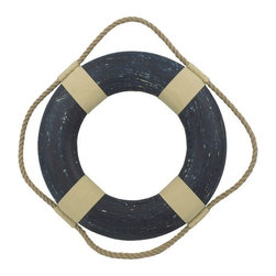 "Handcrafted Model Ships - Vintage Blue Decorative Lifering 15"" - Life Ring Decoration - This Vintage Blue Decorative Lifering 15"" will compliment any beach home perfectly. Our authentic rope used to wrap around the nautical lifering brings this beach bedroom accessory to life and will light up your beach living room, beach wedding decorations or beach themed party. Our Life ring decorations are the perfect choice for any beach setting. We offer over 100 unique decorative life rings sized and priced for everyone's beach wall decor needs. Life ring decor is available in various sizes and styles such as lifering clocks, lifering mirrors, antique life preserver rings and of course the classic traditional decorative life rings, ranging in sizes from 6 to 30 inches."