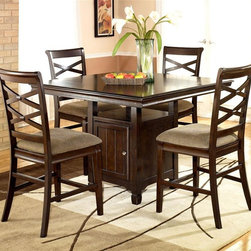 ivgStores Furniture - 5 Pc Square Counter Height Table Set - Add an element of elegance and warmth to your home's decor with this striking five-piece counter height table set, a stylish addition to any dining decor. The square table has a cabinet base for extra storage and is paired with four upholstered counter stools with a dramatic twin X-shaped design on their backs. Set includes Square Table and 4 Counter Stools. Color/Finish: Dark Brown. Made with select veneers and hardwood solids. Felt drawer bottoms. Antique nickel color hardware. Table: 48 in. W x 48 in. L x 36 in. H. Counter Stool: 20 in. W x 23 in. L x 43 in. H