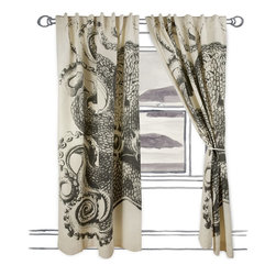 "Thomas Paul - Octopus Window Curtains - Dress your windows with these nautically-themed cotton and linen blend window panels, featuring oversized screen printed motifs. Each panel has been handmade with hidden tabs, reinforced hems and the highest quality fabric.   About the Artist: After graduating from NYC's famed FIT, Thomas Paul started his career as a colorist and designer at a silk mill. Eventually, he leveraged his knowledge of silk materials & print to launch a neckwear line of his own. Over time, Paul loved the idea of applying menswear print and design into a collection of home decor, which is what we see in his goods today. His background has embedded in him a passion for quality production techniques. Even as his brand grows, he continues to ensure all of his prints are hand screened - a slow, detailed process that results in each piece being a unique piece of artwork. Paul also pushes the envelope in terms of bold prints and hand ground materials.       ""My vision for the thomaspaul brand has always been about combining classic design motifs from different periods in textile design. Incorporating anything from an 18th century Damask pattern to a camouflage print. The unifying thread between so many different styles is to change the designs so they are updated for today. For me this means changing the scale, so they are always bold, and reducing down the colors and details, so most designs are reduced to two or three colors and become very flat, bold prints. I am always looking to vintage fabrics and motifs for inspiration and new ideas, but always try to update these to look good for today."" - Thomas Paul"