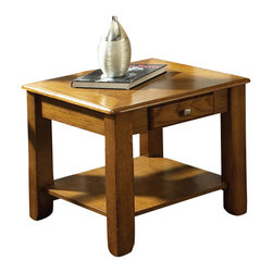 Steve Silver Furniture - Steve Silver Nelson End Table in Medium Wood - Bring style and function into your home with the Nelson collection. This End table features one drawer for storage, and a bottom shelf for magazines all wrapped in oak finish.
