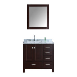 """Ari Kitchen and Bath - Bella 36"""" Solid Wood Stained Espresso Bathrooom Vanity and Mirror - Beautiful transitional style bathroom vanity by Ari Kitchen and Bath, a new brand manufacturing quality bathroom decor at affordable prices. The new 36"""" Bella comes with 1"""" edge Italian carrara marble top, backsplash, undermount CUPC basin, soft-closing drawers & doors, concealed drawer hinges, stained espresso framed mirror and stained espresso solid wood bathroom cabinet. Absolutely no MDF or Particle board on all of our bathroom vanities. All of our bathroom vanities come assembled by the manufacturer, minimal assembly required."""